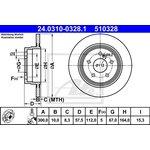 Bremsscheibe, 1 Stück ATE PowerDisc 24.0310-0328.1