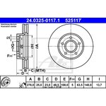 Bremsscheibe, 1 Stück Power Disc ATE 24.0325-0117.1