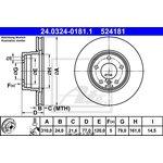 Bremsscheibe, 1 Stück ATE Power Disc BMW E60 520 D  vorne 24.0324-0181.1