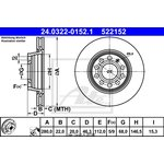 Bremsscheibe, 1 Stück ATE Power Disc Audi A4 '95-'01 vorne 24.0322-0152.1