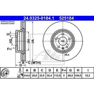 Bremsscheibe Power Disc, 1 Stück ATE - TEVES 24.0325-0184.1