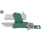 Stiftschlüsselsatz TORX TAMPER HANS 9 Stück (T10 - T50) mit Öffnung, lang