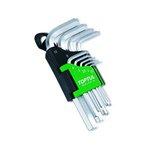 6-Kant Stiftschlüsselsatz HEX TOPTUL 9Stk (1.5 2 2.5 3 4 5 6 8 10 mm) kurz