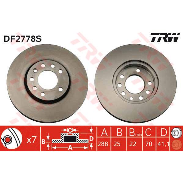 TRW DF2778S Bremsscheibe, 1 Stück TRW DF2778S