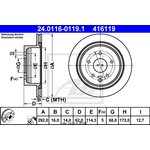 Bremsscheibe, 1 Stück ATE 24.0116-0119.1