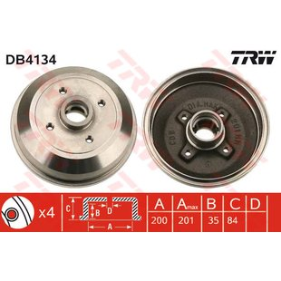 Bremstrommel, 1 Stück TRW DB4134