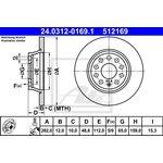 Bremsscheibe PowerDisc ATE 24.0312-0169.1