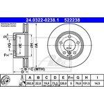 Bremsscheibe, 1 Stück ATE Power Disc vorne 24.0322-0238.1