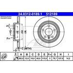 Bremsscheibe, 1 Stück ATE PowerDisc 24.0312-0189.1
