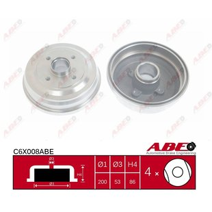 Bremstrommel, 1 Stück ABE C6X008ABE