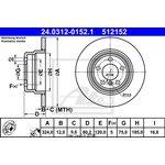 Bremsscheibe, 1 Stück ATE Power Disc BMW X5 3.0 D '00-'06 hinten 24.0312-0152.1