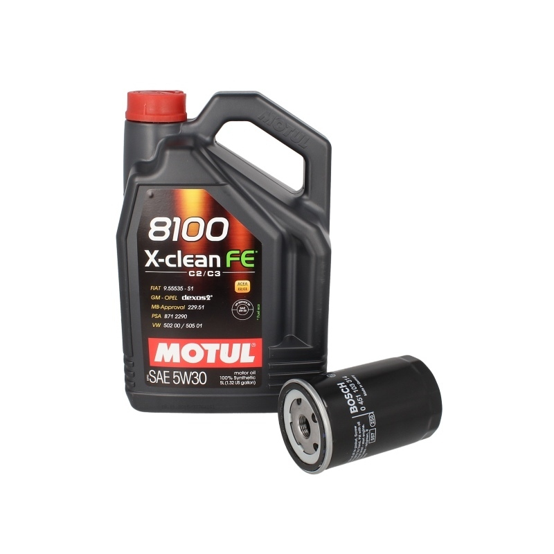 motor l mit lfilter motul 8100 x clean fe 5w30 5l bosch. Black Bedroom Furniture Sets. Home Design Ideas
